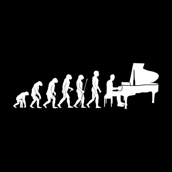 Pianist Evolution Aufkleber Sticker 31 x 10 cm