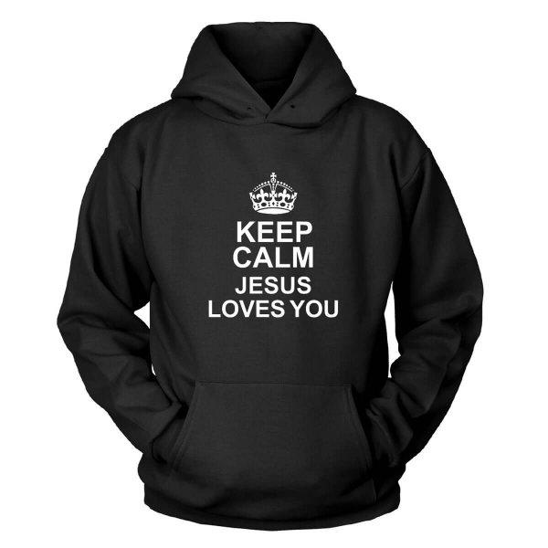 Keep Calm Jesus Loves You Kapuzenpullover