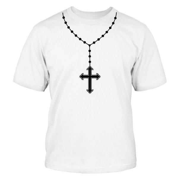 Rosenkranz Kreuzkette T-Shirt