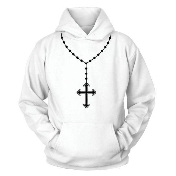 Rosenkranz Kreuzkette Kapuzenpullover